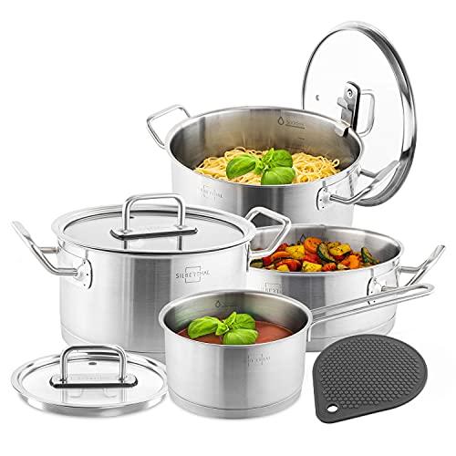 SILBERTHAL Bateria de cocina acero inoxidable | Todo tipo de cocinas Inducción y Horno | Juego de ollas cocina con tapas de cristal