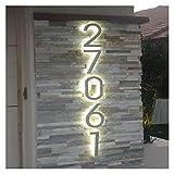 12,5 Cm Metallo 3D LED Numeri Civici Luce Esterna Impermeabile Hotel Home Porta Targhe Acciaio Inossidabile Illumilous Lettre Segno Indirizzo Metallo (Colore: A)