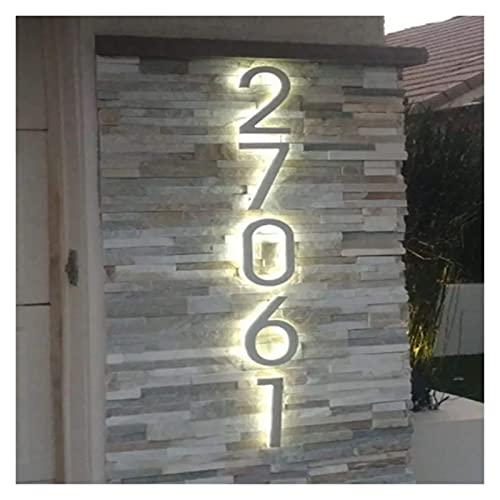 12.5Cm Metal 3D Led Números De Casa Luz Exterior Impermeable Hotel Home...
