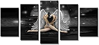YPY 5 Panels Angel Wall Art Picture Prints on Canvas for Home and Office Space Decoration, Ready to Hang (Black, S)