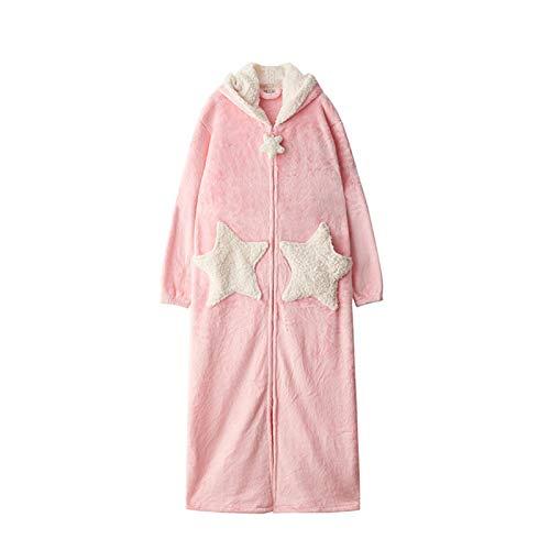 JOMSK Camisón largo y grueso de terciopelo coral para mujer, para otoño e invierno, bata de baño de franela, pijama suelto para interiores (color: rosa, talla Xl)