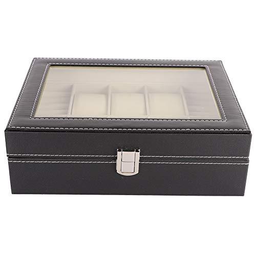 OIHODFHB Caja de almacenamiento para reloj de 6+4 ranuras, caja de almacenamiento para anillos, pendientes, organizador de joyas