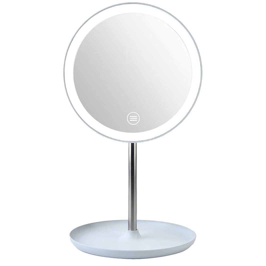 準備したナプキンマウスDream 化粧鏡 LED化粧鏡 化粧ミラー LEDライト付き 美容鏡 卓上鏡 浴室鏡 女優ミラー 3段階明るさ調節可能 180度回転 USB/電池給電 防水 円型 (ブルー)