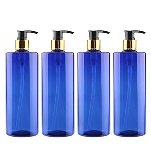 ZEOABSY 4 Piezas 500ml Envase Cosmético Botella de Pet Plástico Azul con Oro/Negro Bomba Dosificador Diseñadas para Contener Gel Baño Champú Loción