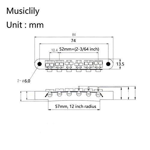 Wilkinson 52 mmEspaciado Entre Cuerdas Estilo Wide Puente Tune-o-matic para Guitarra Gibson/Epiphone Les Paul Style, Dorado