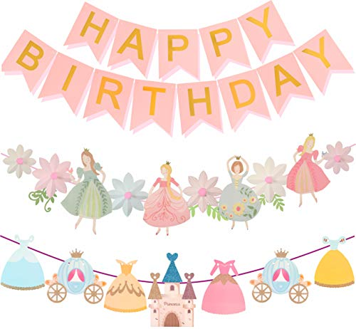 Princess Birthday Decoration | Princess Birthday Banner | Pink Happy Birthday Banner | Pink and Gold Birthday Party Decorations | Princess & Flower shape birthday party banner | Princess Home & Cab s