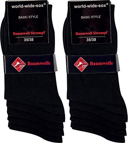 world wide sox | Socken & Strümpfe für Damen | Smooth Baumwolle Dark | 10 Paar | schwarz | 39-42