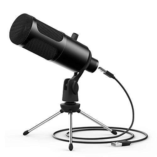JEEMAK PC USB Microfono a condensatore con supporto per treppiedi per Windows Mac Desktop Laptop Podcasting, registrazione, gioco, canto e conferenze, Plug & Play