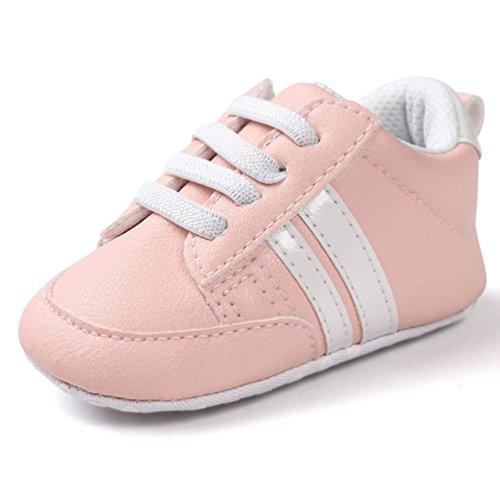 Turnschuhe Babyschuhe Neugeborenen Leder T-Strap Schuhe Sportschuh Jungen Lauflernschuhe Mädchen Krippeschuhe Krabbelschuhe Streifen-beiläufige Wanderschuhe LMMVP (Rosa 1, 11CM (0~6 Monate))