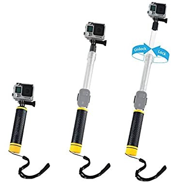 Waterproof Telescopic Pole and Floating Hand Grip in one - For Gopro Hero 5, Black, Session, Hero 4, Session, Black, Silver, Hero+ LCD, 3+, 3, 2, 1 - Extendable from 6.7  to 15.7  - Cradle for Remote