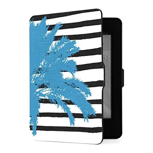 Funda para Kindle Paperwhite 1 2 3, Palmera Azul y Funda de Piel sintética en Blanco y Negro Dibujada a Mano con Smart Auto Wake Sleep para Amazon Kindle Paperwhite (se Adapta a Las Versiones 2012, 2
