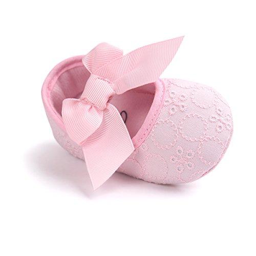 Auxma Neugeborene Baby mädchen Weiche Sole Bowknot Schuhe Weiche Unterseite Blume Prewalker Turnschuhe (11cm/0-6 Monate, Rosa)
