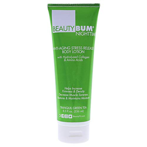 BeautyFit - BeautyBum NightTime - Anti-Aging Stress Release Body Lotion by BeautyFit - Improves Skin Smoothness - Promotes Night Sleep - Improves Fine Lines and Wrinkles - Tranquil Green Tea - 8 oz