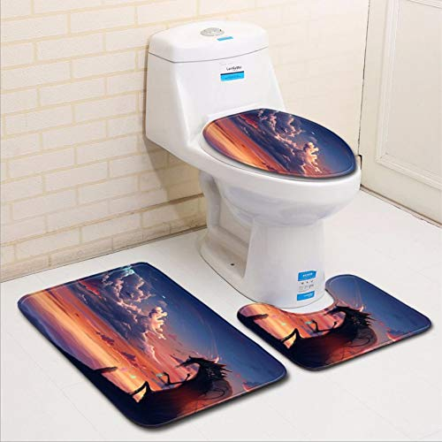 KaiXINSun Badezimmer 3-Teiliges Set Sonnenuntergang Fliegender Drache, Toilettendeckel Matten Atmungsaktiv Weich, U-Förmige Kontur Teppiche, Badewanne Teppich Saugfähig rutschfest 45X75Cm