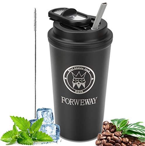 FORWEWAY Thermobecher Isolierbecher Kaffee to go Becher Travel Mug Edelstahl Auslaufsicher Coffee Mug mit Deckel Stroh Autobecher Dicht 500ml für heiße und kalte Getränke (Matt-schwarz)