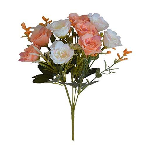 Künstliche Blumen Lila blühende künstliche Blumen Rose kleine Blumenstrauß Seide Gefälschte Blume DIY Dekoration for Haus Hochzeit Garten Kranz Zubehör (Color : Champagne)
