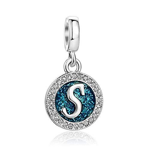 KunBead Love Family Initial S Letter Alphabet Birthday Charms Crystal Dangle Beads for Charm Bracelets