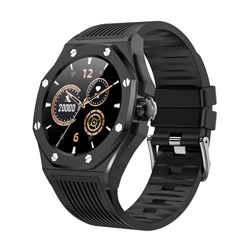 KOPOU Smart Watch 2021, braccialetto intelligente di lusso orologi da polso fitness band Android iOS Smartwatch, lunga durata della batteria, Quadrante nero, cornice nera, cinturino nero, Medium,