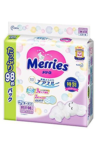 【Amazon.co.jp 限定】【テープ 新生児用】メリーズ オムツ さらさらエアスルー (お誕生~5000g) 98枚