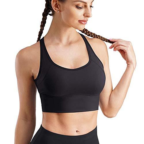 CHUMIAN Reggiseno Sportivo Push Up Top Senza Ferretto Bra Donna con Imbottito per Yoga Fitness (Nero, M)