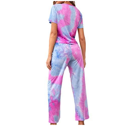 Battnot Damen Trainingsanzug Sommer Set Tie-Dye Pyjama Elegant Kurzarm T-Shirts+Hosen Split 2-teiliges Hausanzug, Frauen Sportanzug Jogginganzug Wellnessanzug Trainingsanzüge Womens Casual Outfit
