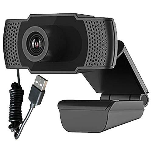 HOTSO Webcam 1080P con micrófono, USB Play para PC, portátil, ordenador, con corrección de luz, para streaming de vídeo, conferencias, estudios, grabación, juegos con clip giratorio