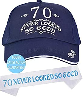 70th Birthday Hat, 70th Birthday Caps and Sash, Happy 70th Birthday Party Supplies, 70th Birthday, 70 Never Looked So Good Sash, Gift for Men, 70th Birthday Party Supplies Gifts and Decorations