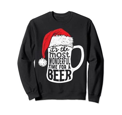 Es el momento más maravilloso para un sombrero de Papá Noel de cerveza Sudadera