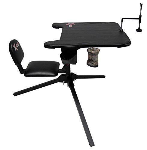X-Stand Treestands The X-Ecutor 360 Shooting Bench X-Ecutor 360 Shooting Hunting Bench with Backrest & 360 Degree Swivel Seat, Black