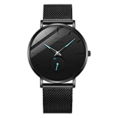 ★SIMPLE AND NEUTRAL STYLE★ Minimalist black dial with simple three-pin bring you a different feeling; The small hands on the small dial be effective of decoration and show the seconds; High hardness mineral glass prevent the damage of scraping. ★HIGH...