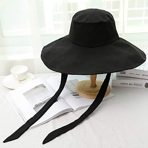 Cappello Esterno del Sole di Estate del Cappello Signora, Tesa Larga Turismo Striscione Cappello da Sole Modo del Cappello Pieghevole, Cappello della Spiaggia d'Estate Che Copre Il Viso con,Nero
