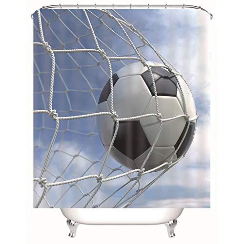 Cenliva Duschvorhang Anti Schimmel, Duschvorhang Antischimmel Bunt Schwarz-Weiss Bad Vorhang Fußball Fußball Polyester