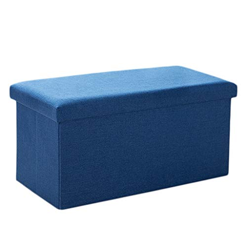Wddwarmhome Cloth Art Tabouret de Rangement pour boîte de Rangement de ménage avec Pouf Pliable -76 * 38 * 38cm - Capacité de Charge maximale de 150 kg - Facile à Nettoyer (Couleur : Bleu foncé)
