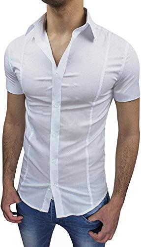 Evoga Camicia Uomo Slim Fit a Maniche Corte Aderente Elasticizzata (XL, Bianco)
