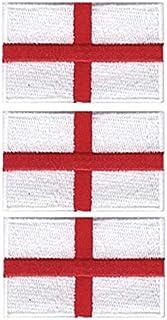 Tanto Badges Paquete de 3 parches bordados con la bandera de Inglaterra, 65 mm x 40 mm