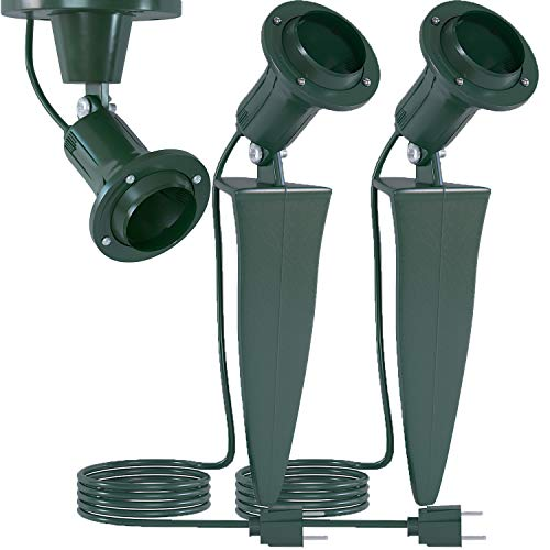 Home Intuition Outdoor Flood Stake Light Plug in Stakelight Fixture with Wall Mount (6-Feet Cord, 18/2-Gauge), 2-Pack