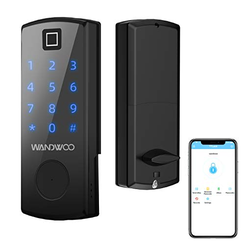 5-in-1 Fingerprint Lock, Wandwoo Smart Door Lock with Bluetooth Secure Finger ID Card Swipe Mechanical Keys Enabled Anti-peep Code Auto Lock Free APP for Home Office