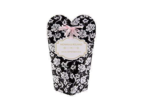 Livingstyle & wanddesign persoonlijke geschenkdoos voor bruiloft doos geschenk gastgeschenk plaatskaart individualiseerbaar met naam datum zwart wit
