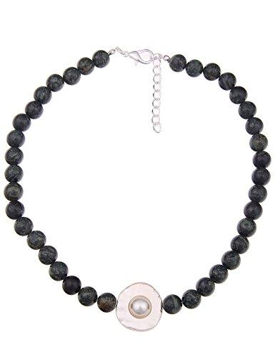 Leslii Damenkette Kurze Halskette Agate Natur Stein Anhänger Perlen Kette Modeschmuck Collier 48cm in Grün Schwarz