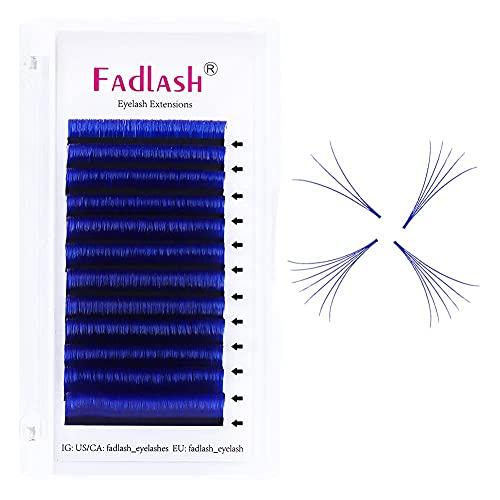 Cils Auto-Festonnés 0.07mm D Curl 14mm Extension de cils Bleu Professional Soft Natural Eyelashes Self-tapping Cils Volume russe (Easy Fan Blue 0.07mm-D-14mm)