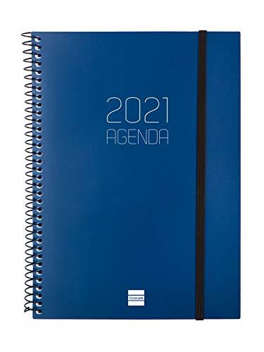 Finocam - Agenda 2021 Semana vista apaisada Espiral Opaque Azul Español