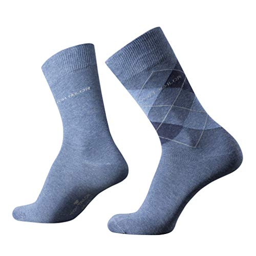 TOM TAILOR Herren Socken 2er Pack Argyle + uni, Size:39-42