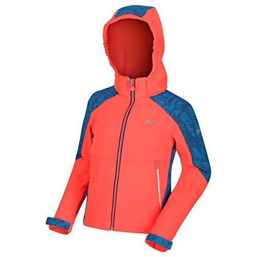 Regatta ' Astrox II' Reflective Softshell Jacket, Guscio Morbido Bambino, Fiery Coral/Petrol Blue, 9-10 Anni