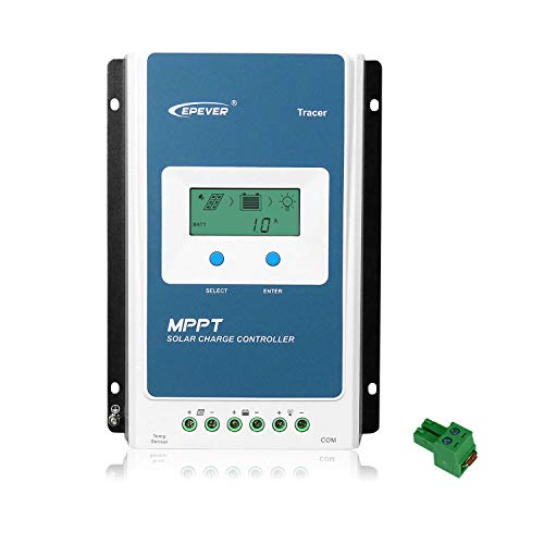EPEVER MPPT Charge Controller 10A Tracer1210AN 12V/24V Solar Panel Regulator with LCD Display Auto Work 100V for Gel AGM Sealed Flooded Lithium Battery(Tracer1210AN)