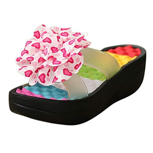 SANFASHION Damen Sommer Sandalen Plattform Flip Flops Hausschuhe Sommerschuhe Swing Wedge Strand Loch Schuhe Dusch- und Badeschuhe
