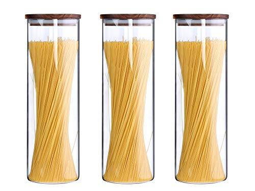 KKC Glasbehälter mit Deckel Vorratsdosen Glas mit Holz Deckel Vorratsgläser Luftdicht Spaghetti Teigwaren Nudel Müsli Glas Behälter 1850ML im 3er Set