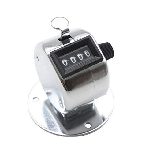 💗 Orcbee 💗 _Hand Tally Counter with Base Digit Finger Ring Desktop Silver Tally 4 Digit Palm Counters