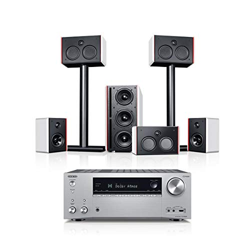 Teufel System 4 THX AVR 5.1-Set Weiß/Silber Heimkino Lautsprecher 5.1 Soundanlage Kino Raumklang Surround Subwoofer Movie High-End HiFi Speaker