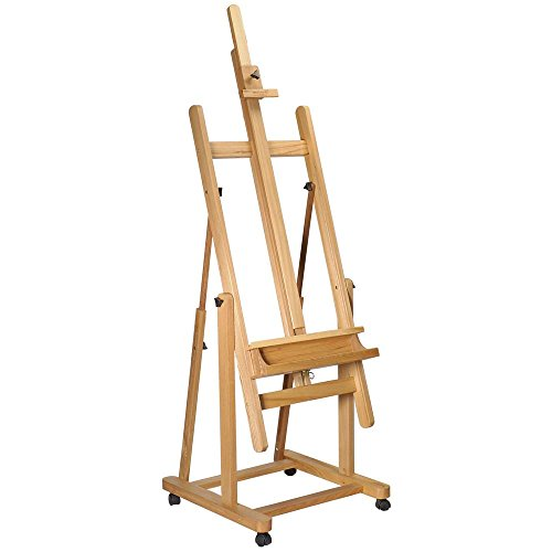 Mont Marte Tilting Studio Wooden Floor Easel. Height Adjustable Extra Large H-Frame Featuring a Large Tilt Range. Castor Wheels Allow Easy Movement and Can Be Locked into Place.