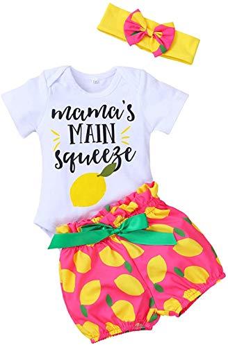 Newborn Baby Girl Clothes Print Short Sleeve Romper + Lemon Pants + Headband 3 PCS Summer Outfits Set (Lemon, 6-12 Months)